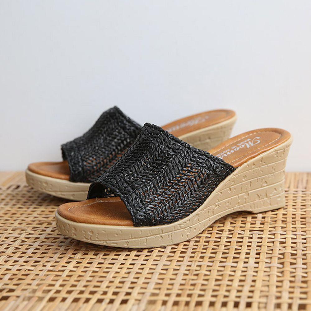 韓國 Dangolunni - 編織面械型拖鞋(7cm高)-黑
