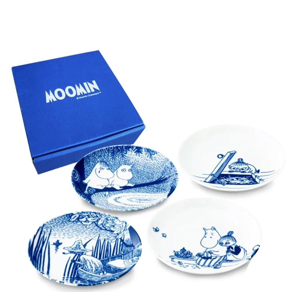 日本山加 yamaka - moomin 嚕嚕米彩繪陶瓷淺盤禮盒-MM2700-190-4入組