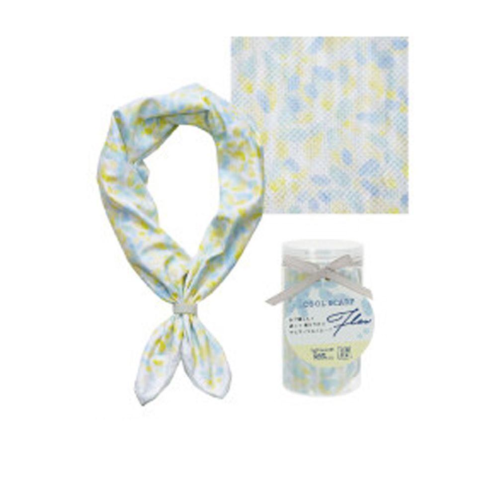 日本現代百貨 - 抗UV水涼感方巾/領巾(附收納罐)-水彩花瓣/條紋-黃 (54x54cm)