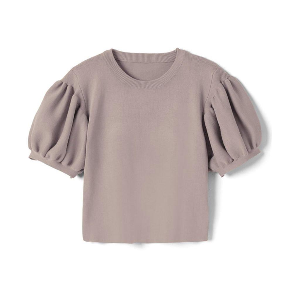 日本 GRL - 顯瘦澎澎袖針織圓領上衣-淺灰杏 (M)