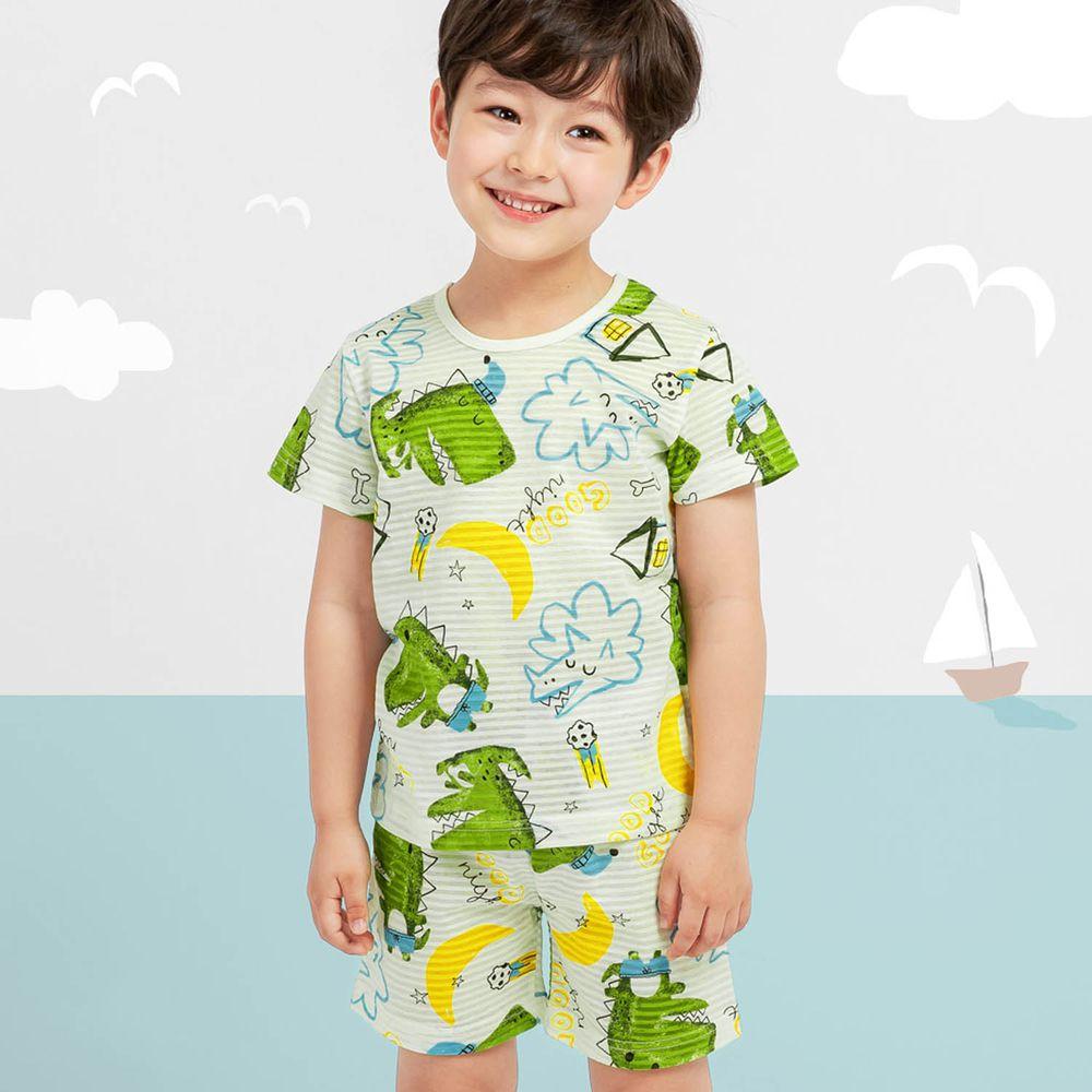韓國 Mellisse - 韓製透氣輕薄短袖家居服(無螢光棉)-月亮恐龍