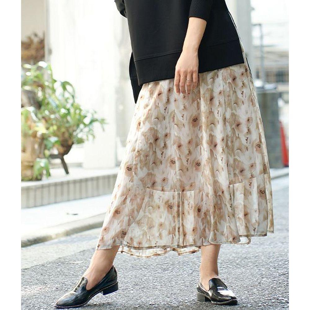 日本 zootie - 優雅水彩花朵雪紡長裙-米黃
