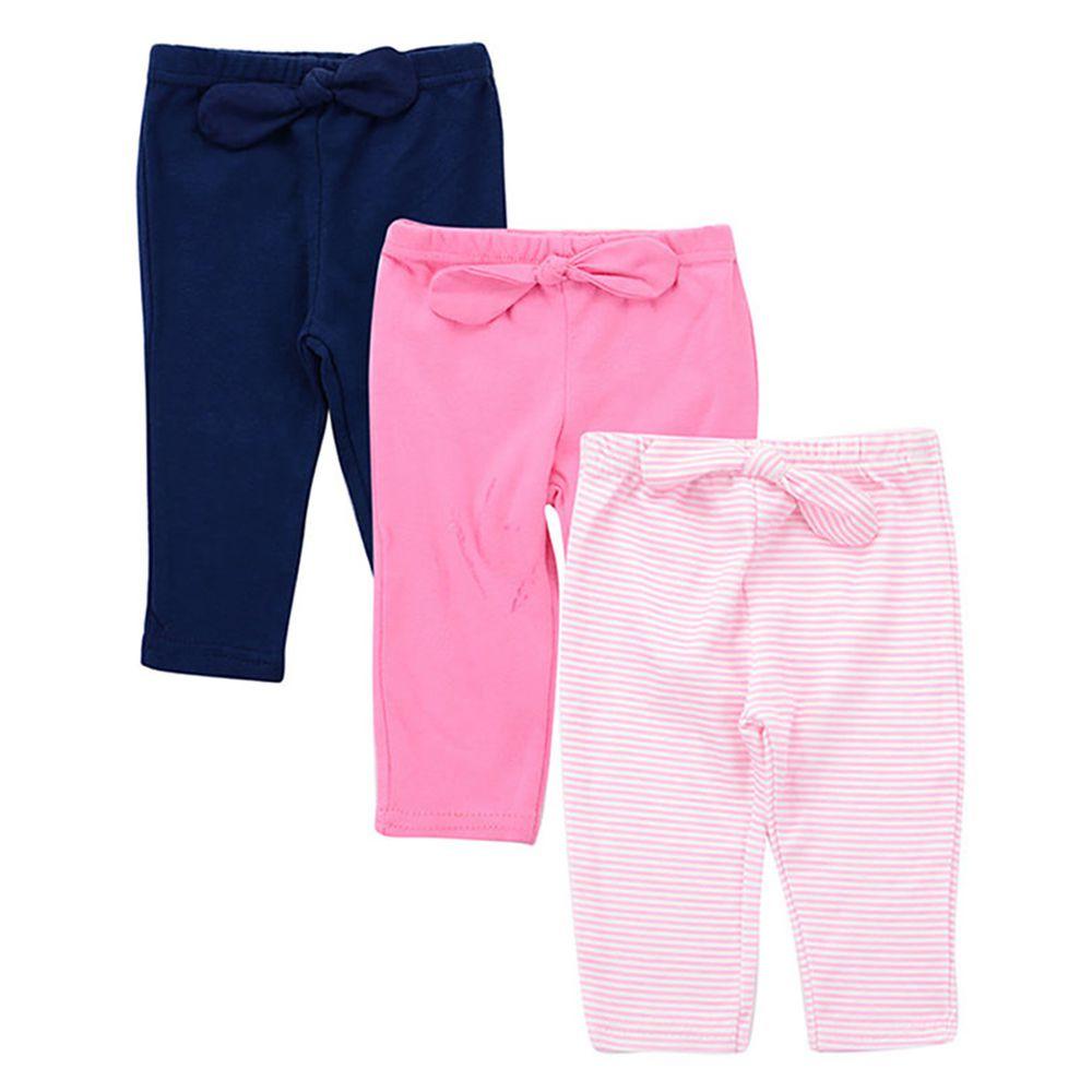 美國 Luvable Friends - 100%純棉嬰幼兒長褲3件組-淡粉條紋