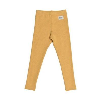 有機棉桃皮絨素色內搭褲-芥末黃