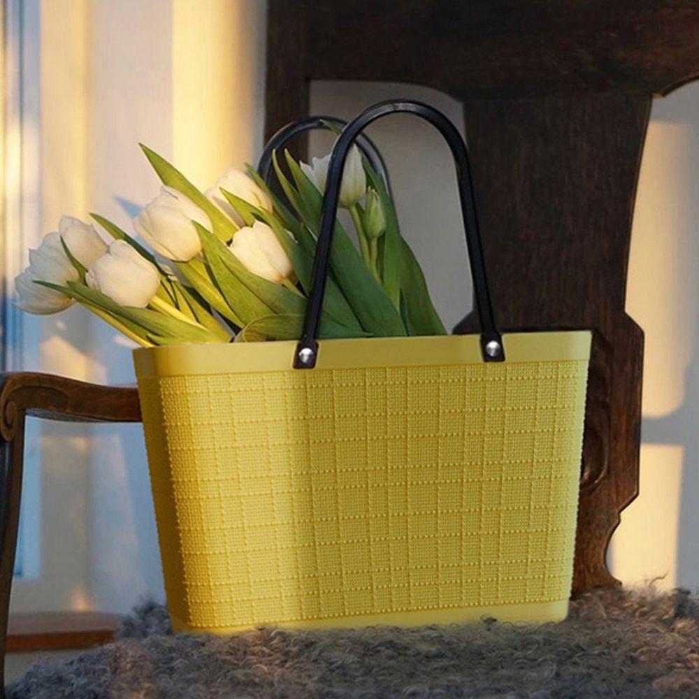 日本霜山 - 復古仿亞麻布格紋萬用防水便攜手提籃-加大款 (菜籃/購物籃)-檸檬黃