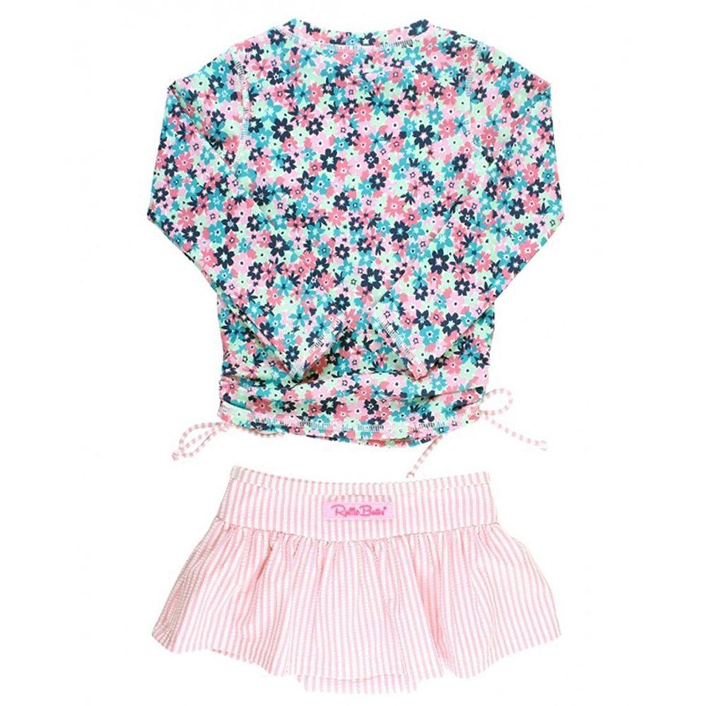 美國 RuffleButts - 小女童UPF 50+防曬兩件式長袖泳裝-搖擺萬花筒