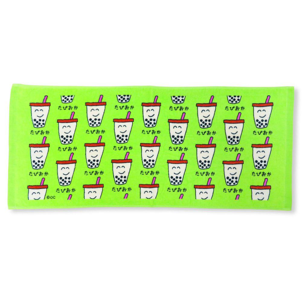 日本 OKUTANI - 童趣插畫長毛巾-珍珠奶茶-綠 (34x80cm)