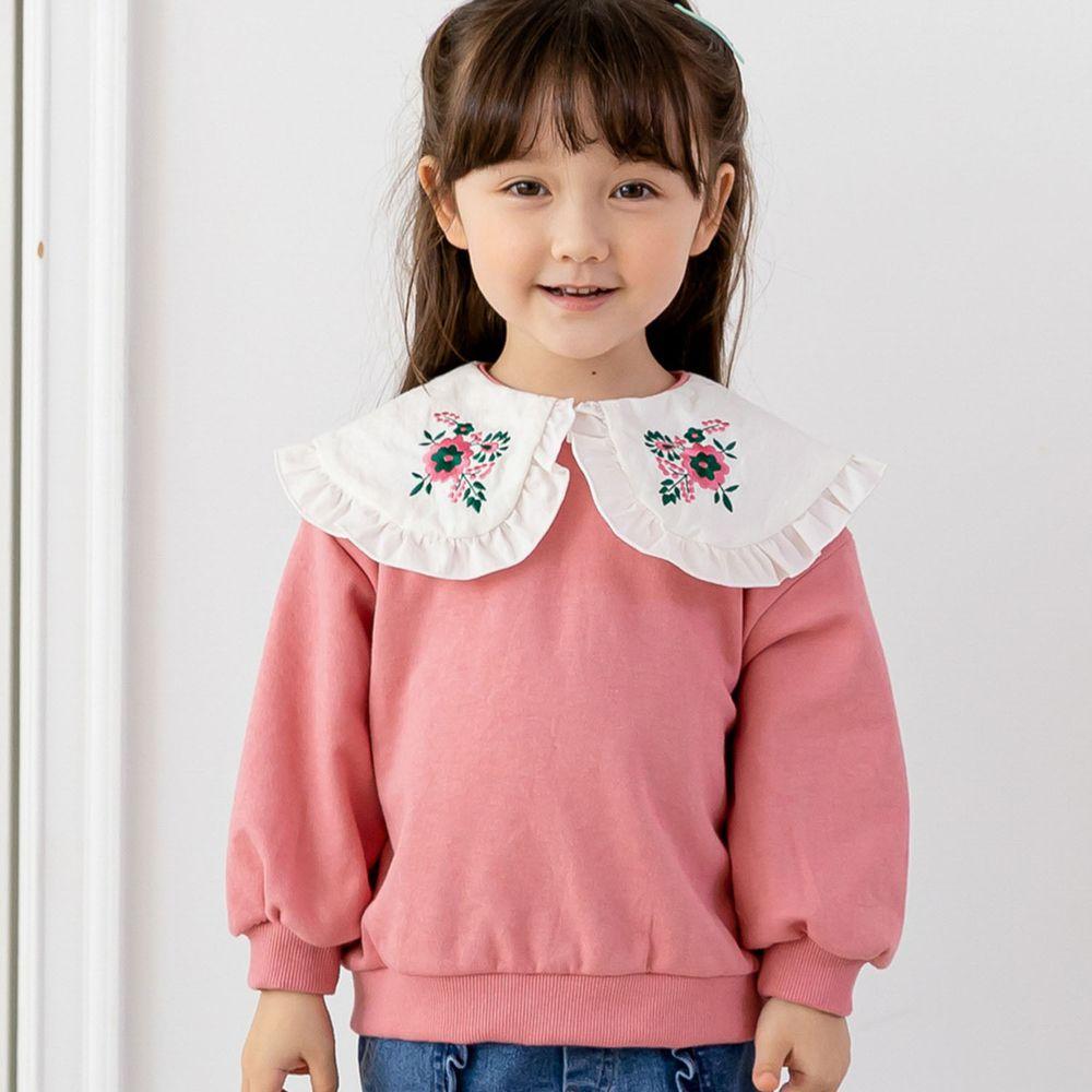 韓國 ERU - 刺繡花朵白領T-玫瑰粉