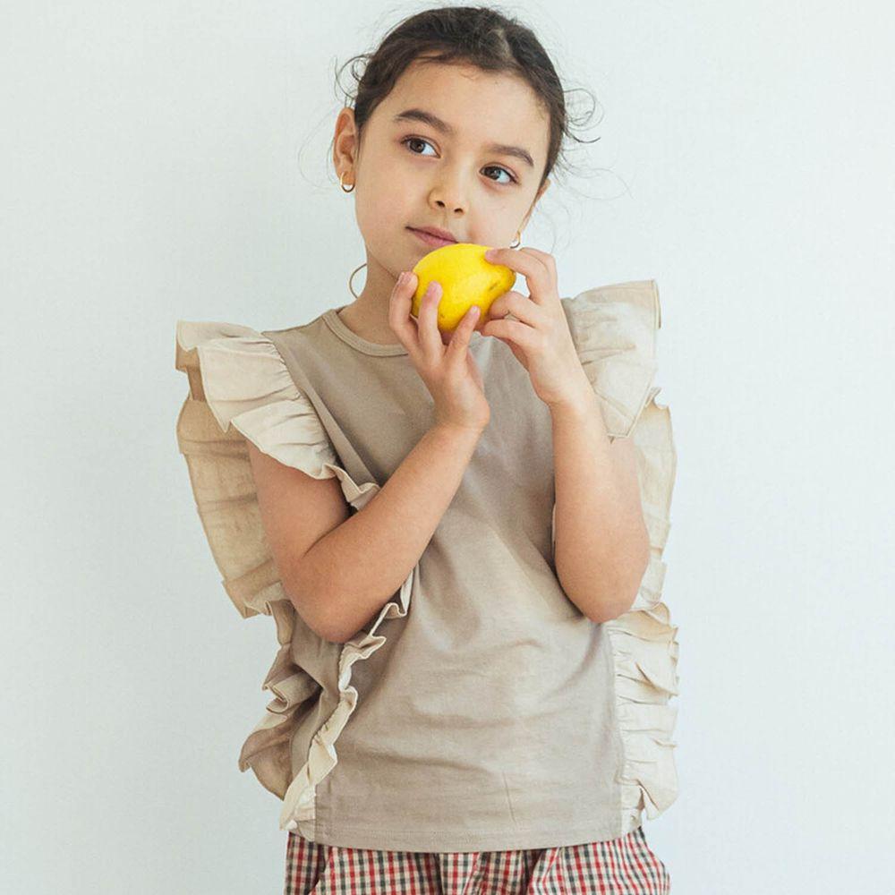 日本 PAIRMANON - 雙側大荷葉拼接無袖T-灰杏