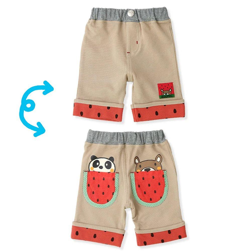 日本 ZOOLAND - 純棉動物五分褲-小熊熊貓吃西瓜-杏