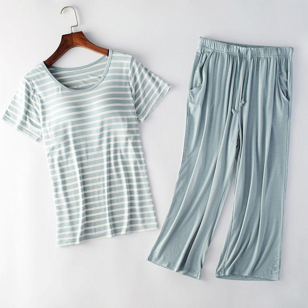 莫代爾柔軟涼感Bra T家居服-七分褲套裝-綠白條紋