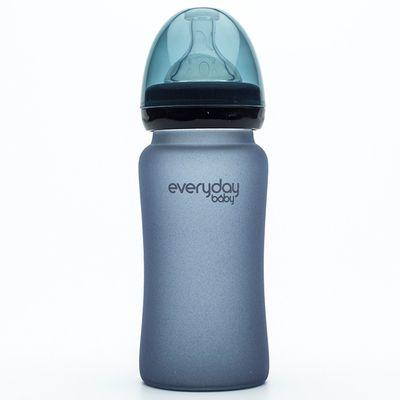 MilkHero 寬口徑防護感溫變色玻璃奶瓶-星空黑 (240ml)-230g