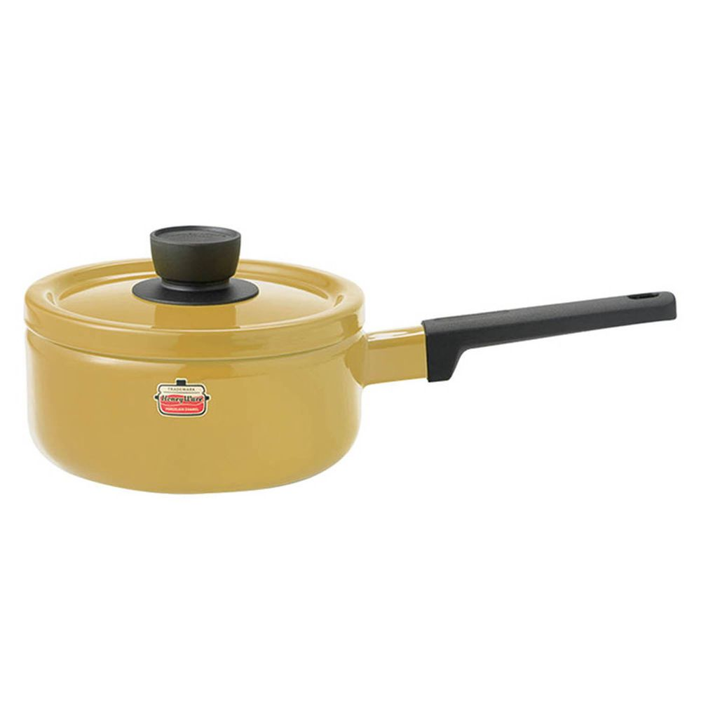 FUJIHORO 富士琺瑯 - Solid 經典系列-18cm單柄附蓋琺瑯調理鍋-芥末黃-容量:2.2L 重量:1.25kg