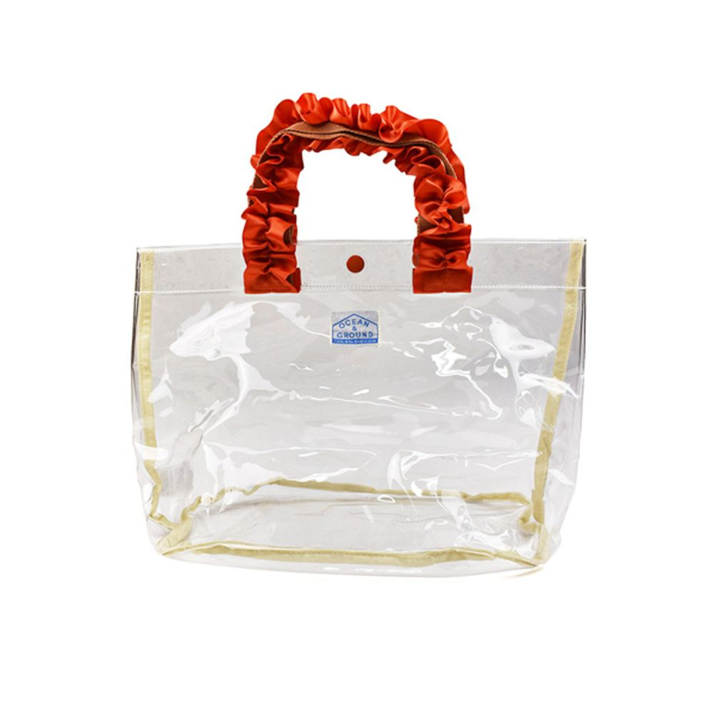 日本 OCEAN&GROUND - 透明PVC防水手提袋-緞帶度假風-透明 CL (27x33x20.5cm)