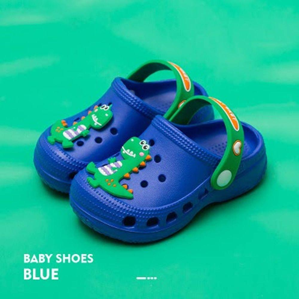 Cheerful Mario - 洞洞涼鞋-動物款-恐龍藍
