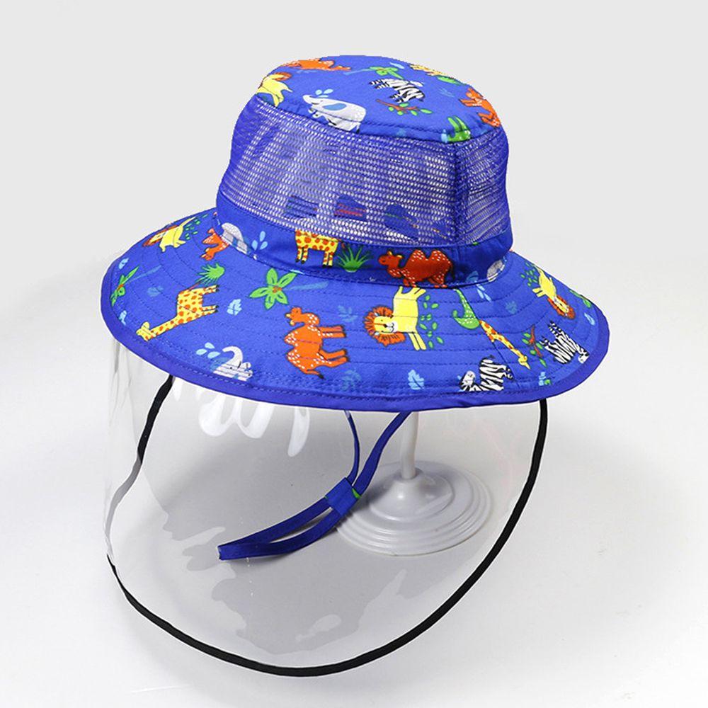 透氣網眼防飛沫大帽沿遮陽帽-歡樂動物園