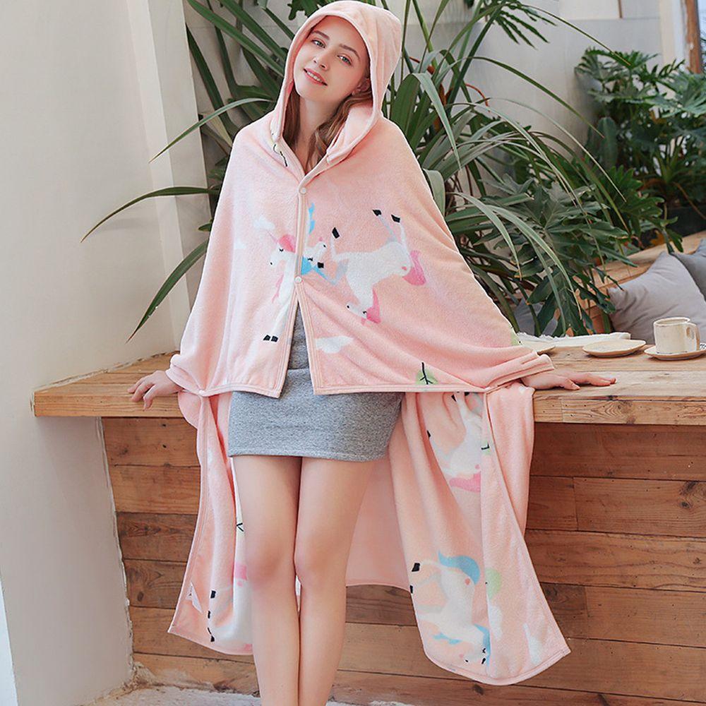 保暖珊瑚絨披肩懶人毯-粉紅獨角獸 (1.5mx1m(帽子可拆))