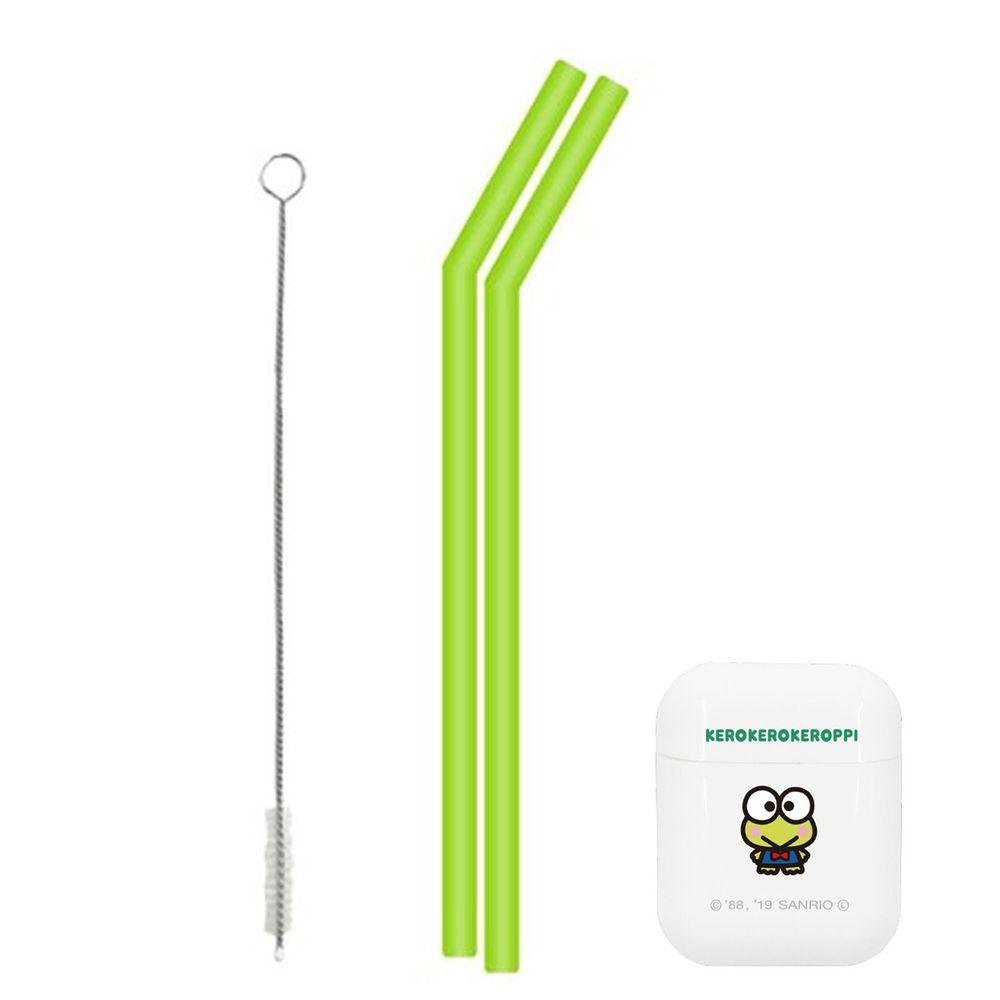 日本 Hashy - 便攜型矽膠吸管兩入組(附收納盒+清洗刷)-大眼蛙-綠 (直徑7mm*18.5cm)