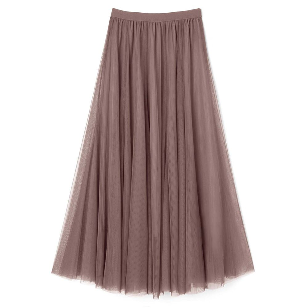 日本 GRL - 飄逸顯瘦雙層傘紗裙-拿鐵咖 (M)