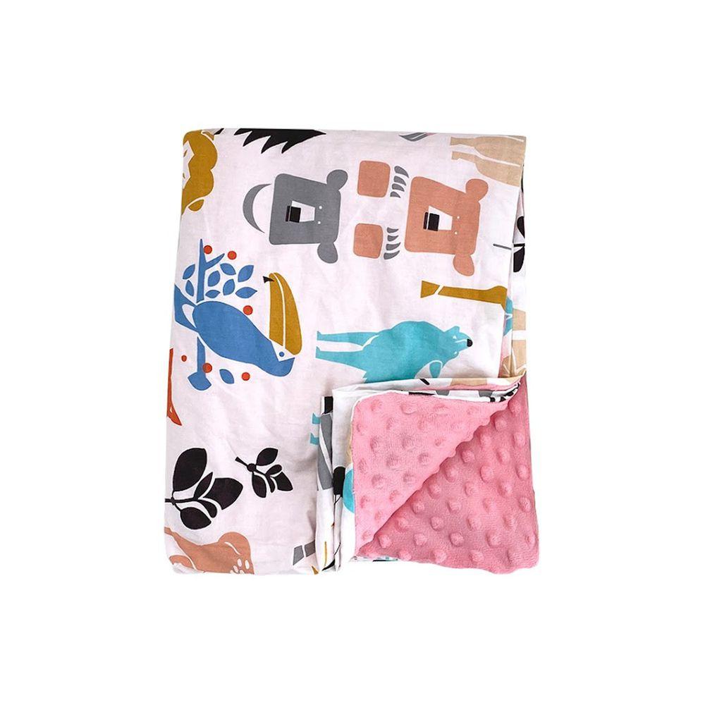 JoyNa - 兒童四季款多功能被套毯 親膚棉被-粉色動物世界-被套蓋毯 (120*150cm)