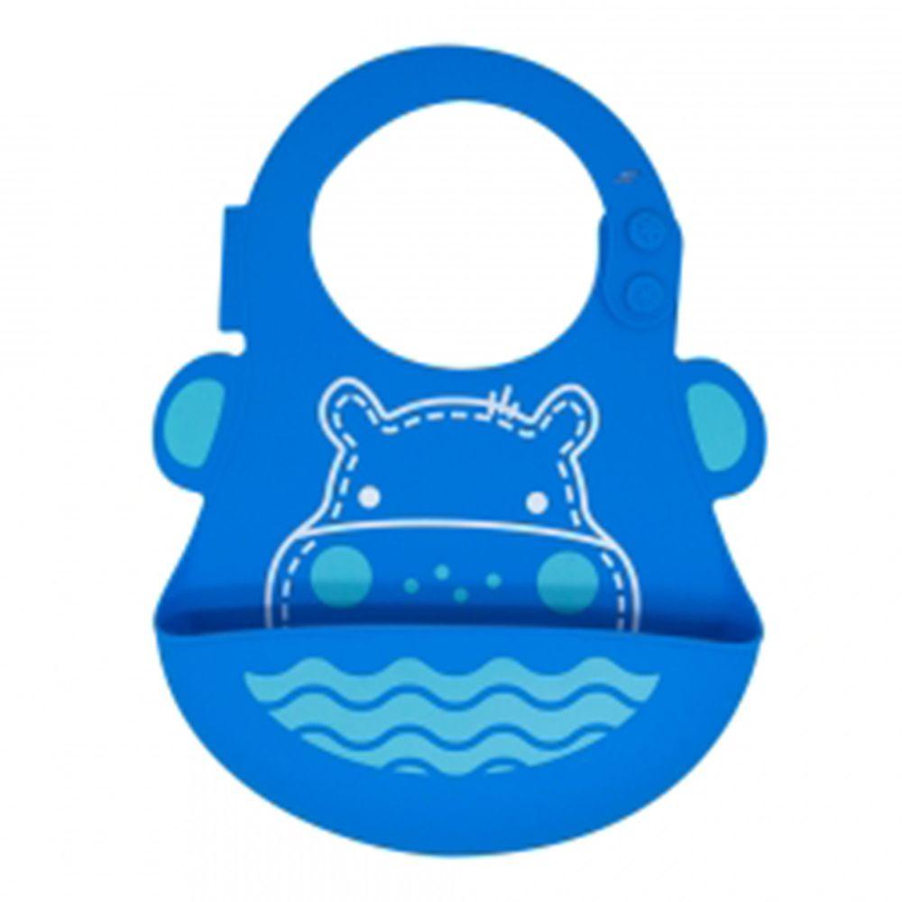 MARCUS&MARCUS - 動物樂園矽膠立體圍兜-藍河馬