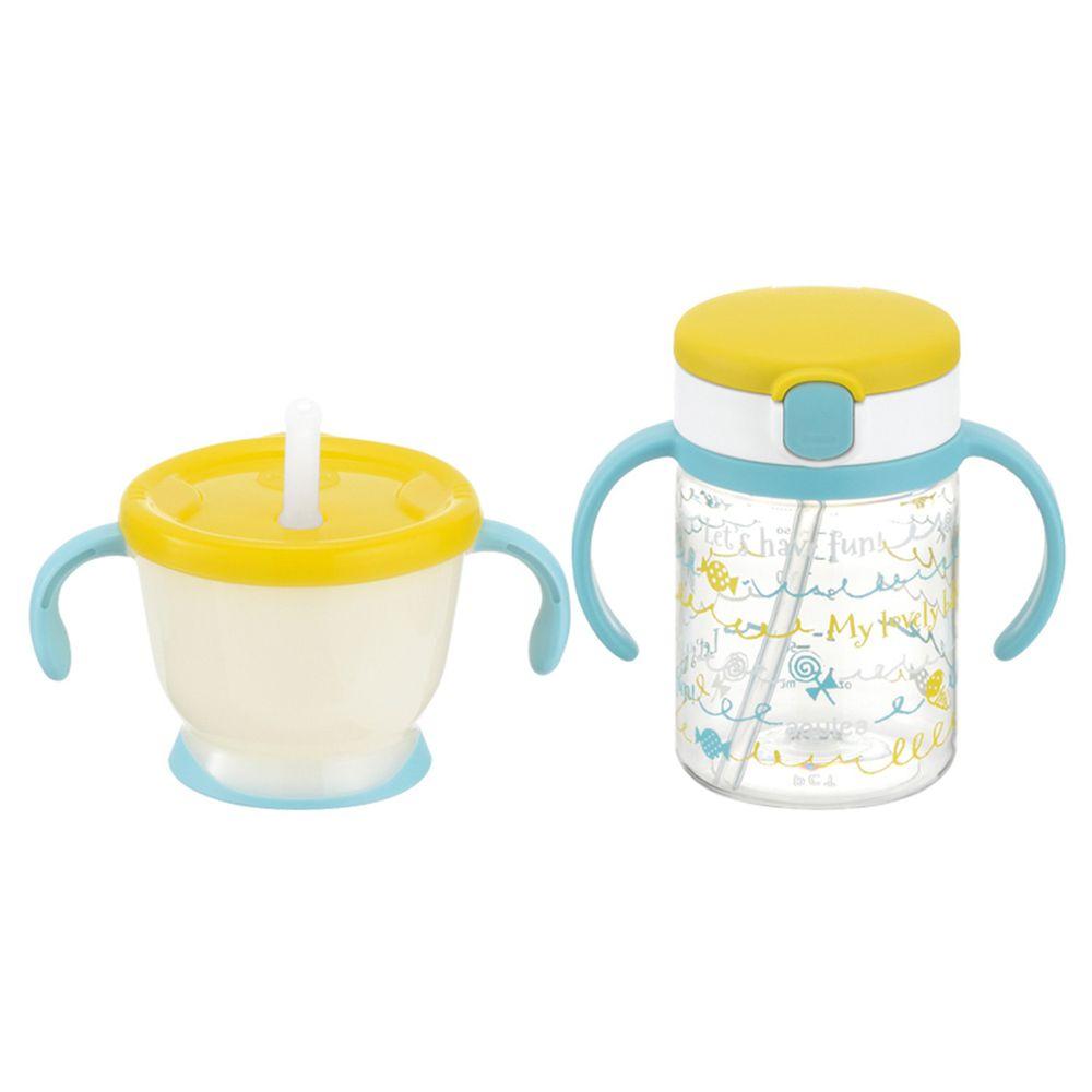 日本 Richell 利其爾 - 棒棒糖水杯組合-棒棒糖果圖案-黃-150ml/200ml