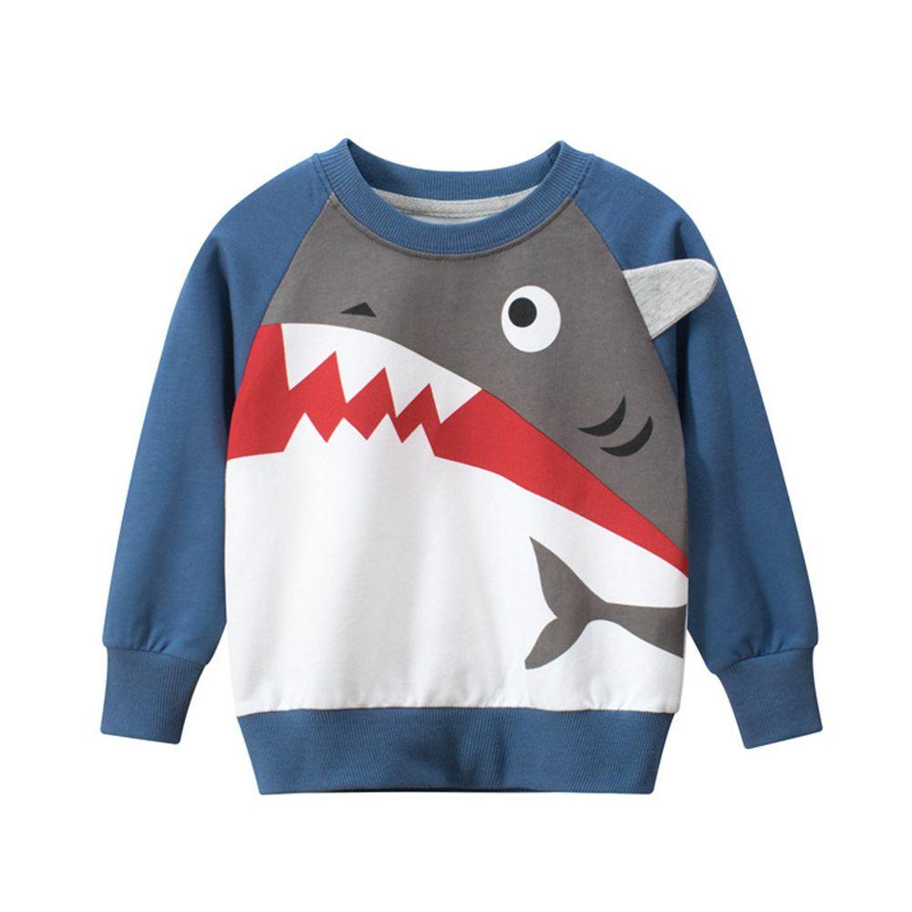 棉質長袖大學T-鯊魚咬咬-藍色