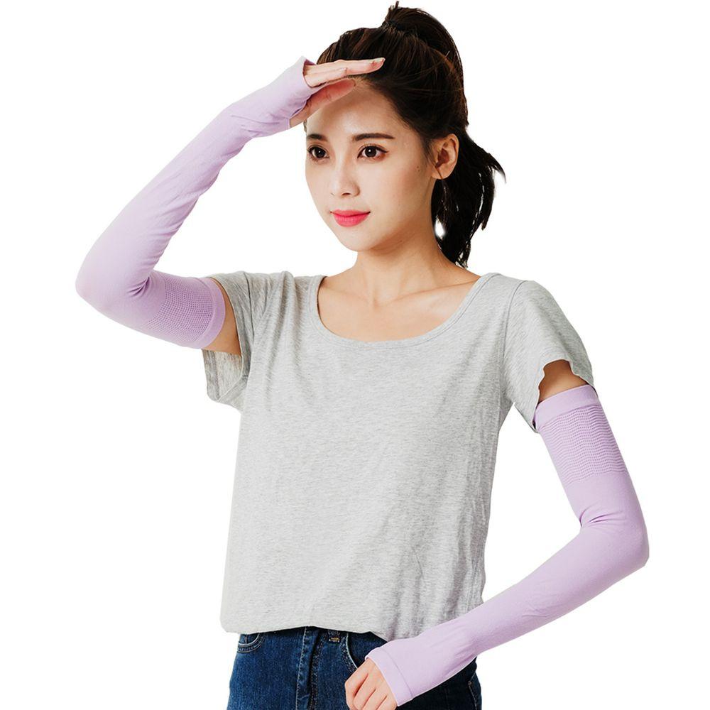 GIAT - UPF50+勁涼彈力防曬袖套(男女適用)-淺紫 (FREE)