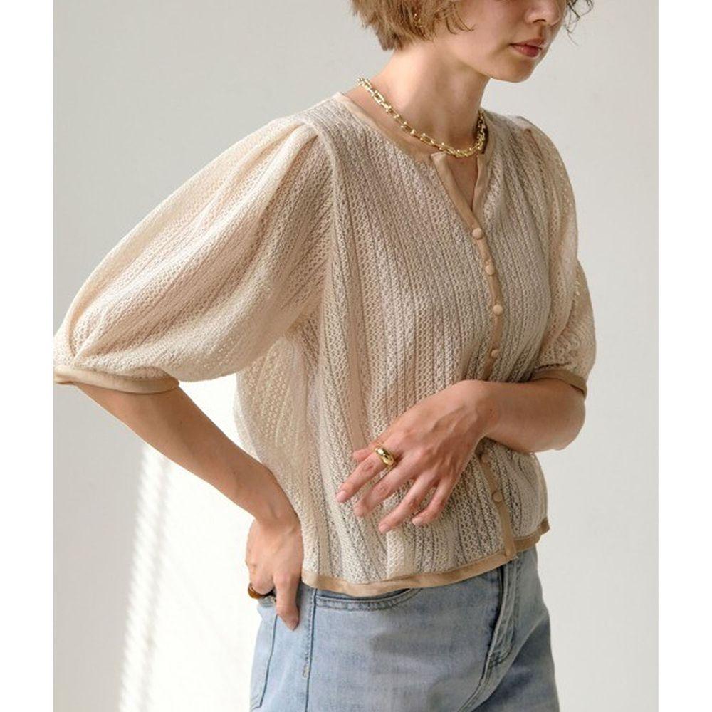 日本 Bou Jeloud - 復古蕾絲配色五分袖小罩衫/外套/上衣-米