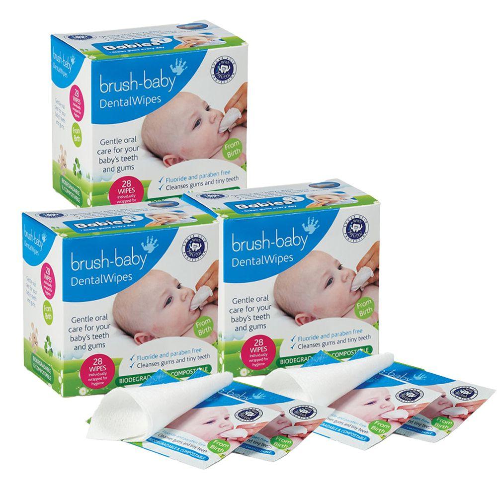 英國 brush-baby - 安心刷潔牙手指棉套(單片包裝)-28片/盒-3盒促銷組