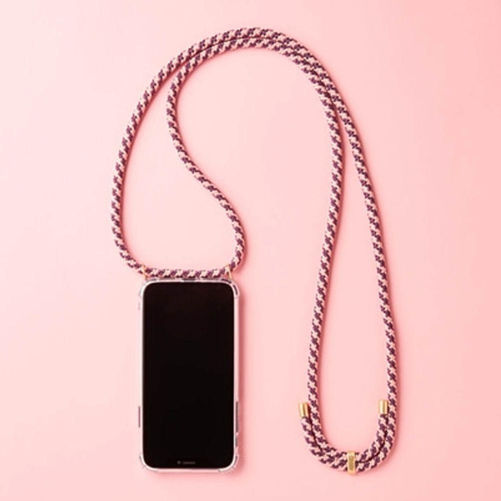 韓國 ARNO - 編繩背帶透明手機殼-玫瑰紫