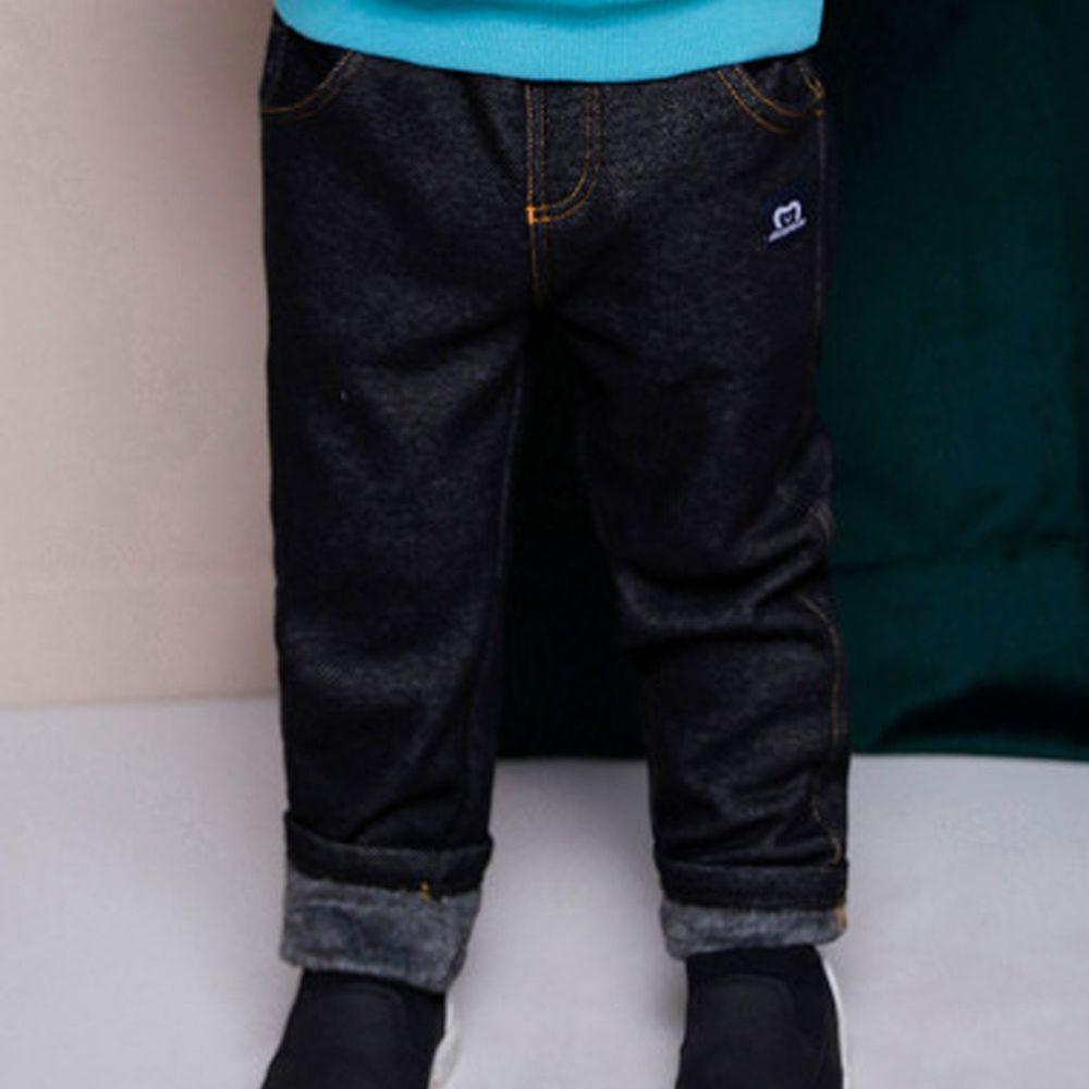 韓國 Jelispoon - (內刷毛)鬆緊褲頭仿牛仔布彈力褲-黑
