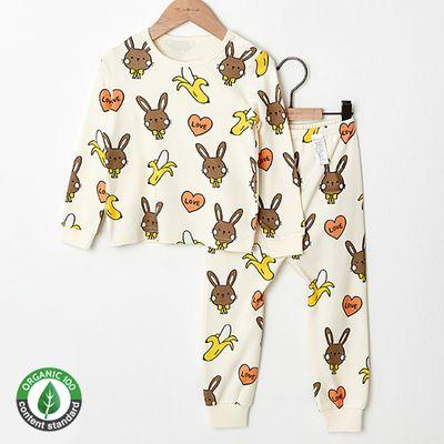 (現貨)雙層有機棉長袖家居服-香蕉兔兔