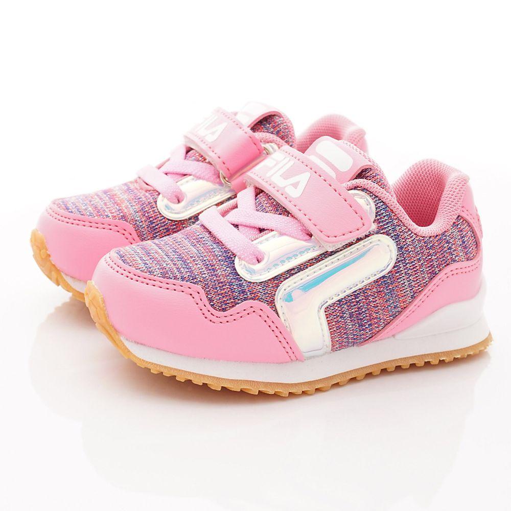 FILA - 運動童鞋-針織炫彩慢跑鞋款(中小童段)-粉