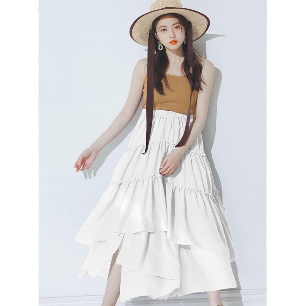 日本 GRL - 明星聯名款 多層次蛋糕長裙-天使白