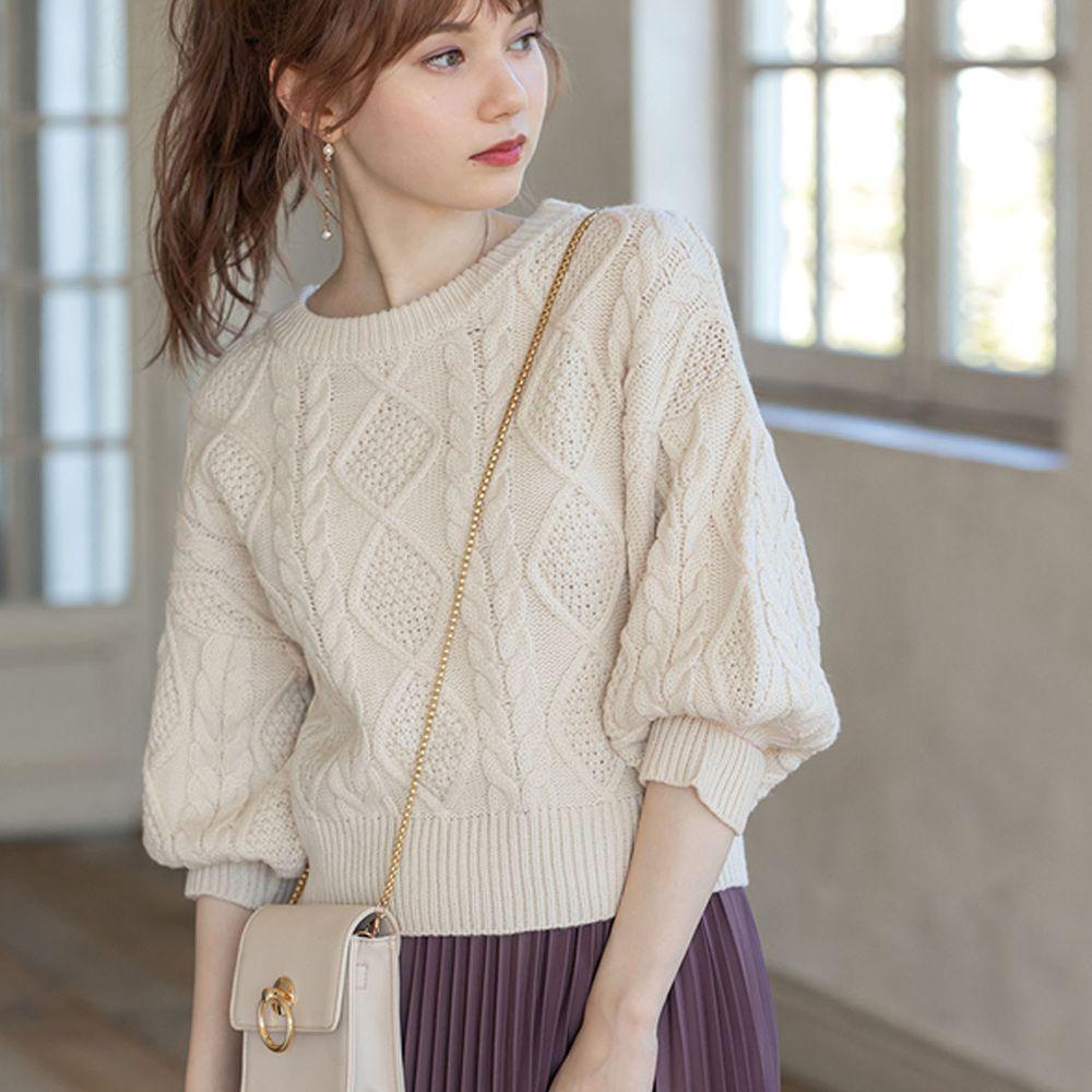 日本 GRL - 編織紋美腰綁帶寬版七分袖針織上衣-米
