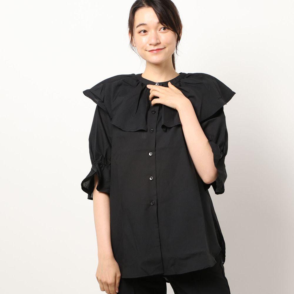 日本 Riche Glamour - 浪漫大荷葉五分袖襯衫-黑