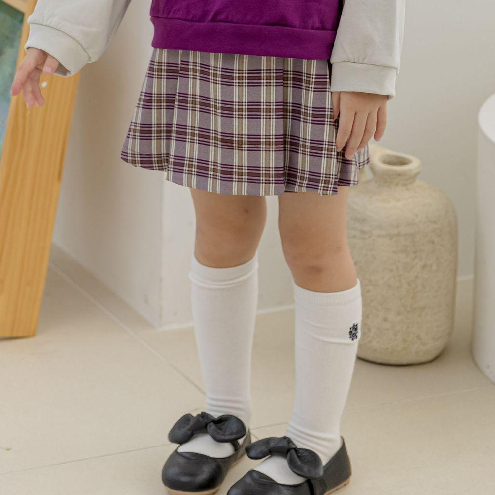 韓國 Orange Mom - 假雙排釦格子褲裙-紫