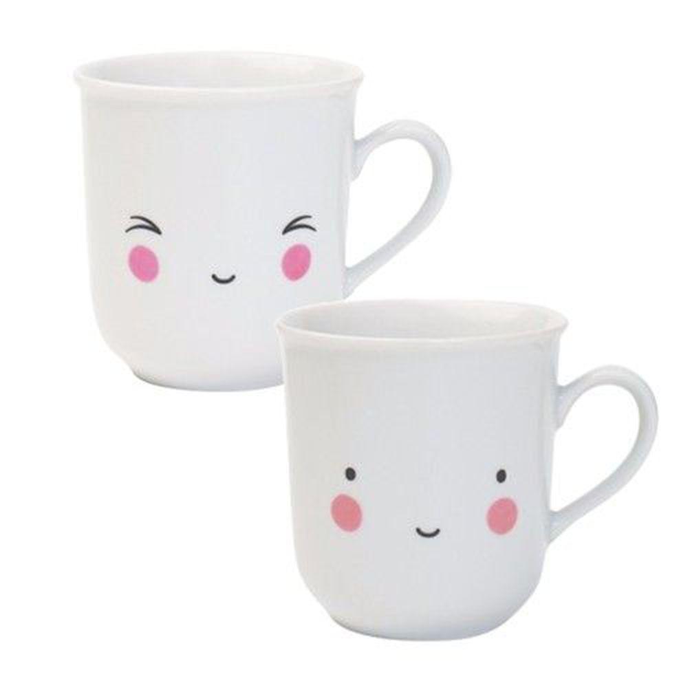 荷蘭 A Little Lovely Company - 陶瓷對杯200ml-愉快笑笑臉
