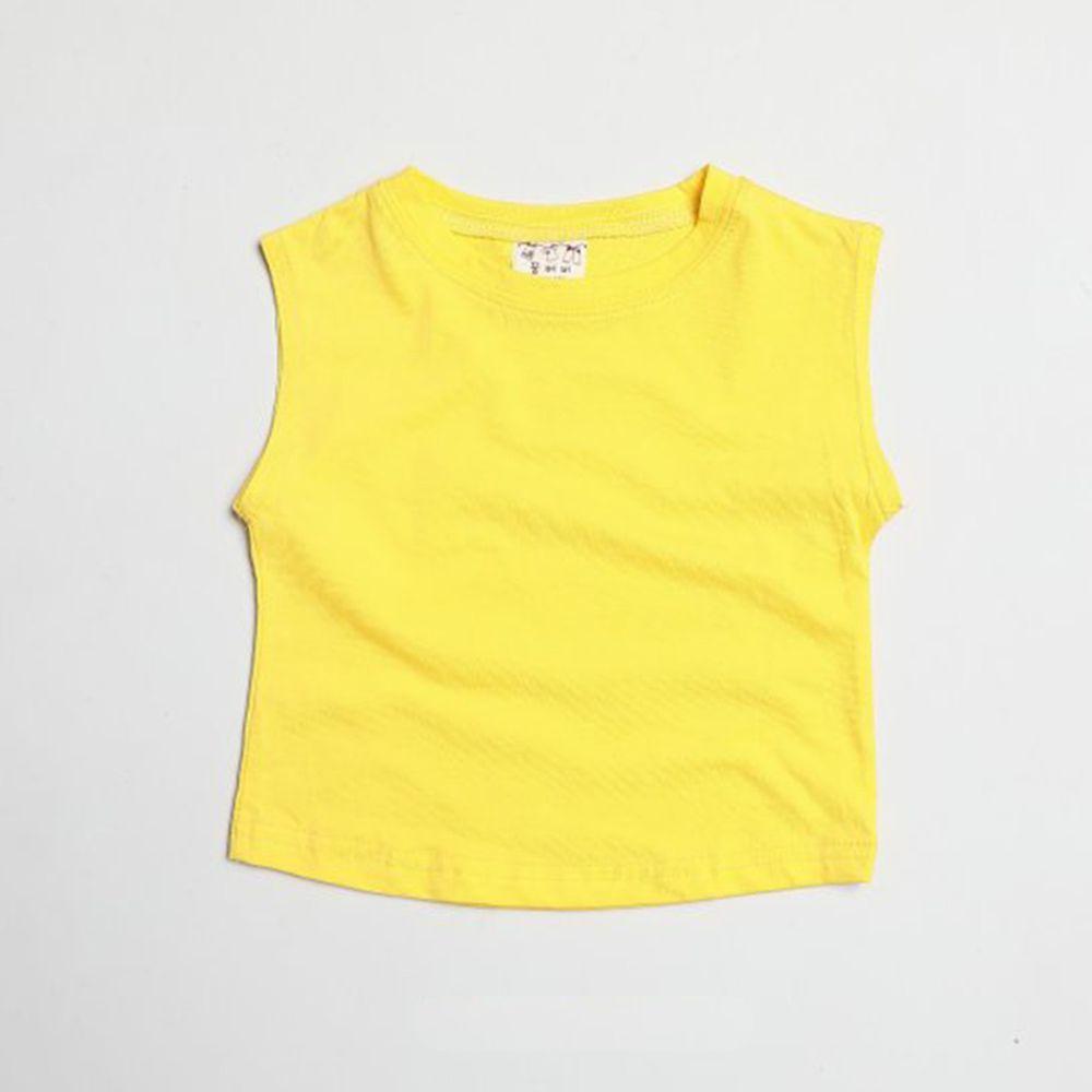 韓國製 - 水洗加工布純棉無袖T-黃
