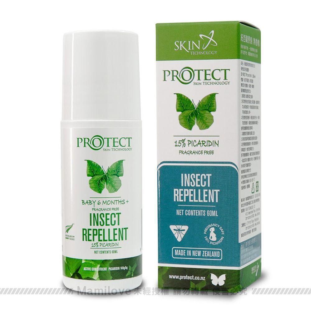 紐西蘭 Skin Technology Protect - 15%派卡瑞丁Picaridin 瑞斌6H長效防蚊滾珠瓶-無香精-60ml (有效期限到: 2022/10/01)