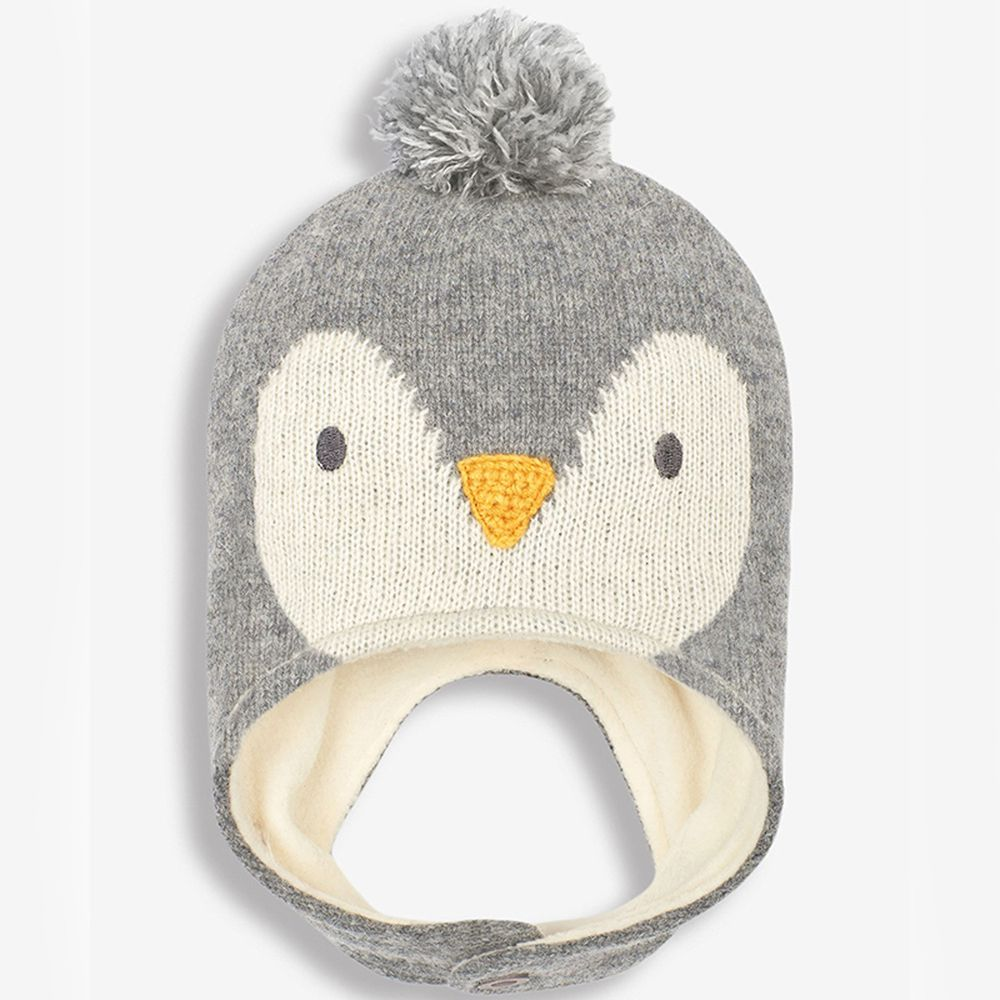 英國 JoJo Maman BeBe - 保暖舒適羊毛帽-灰色企鵝