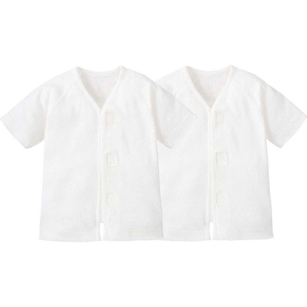 日本 Combi - mini系列-純棉肚衣(黏貼式,7分袖)-白色*2 (60-70)