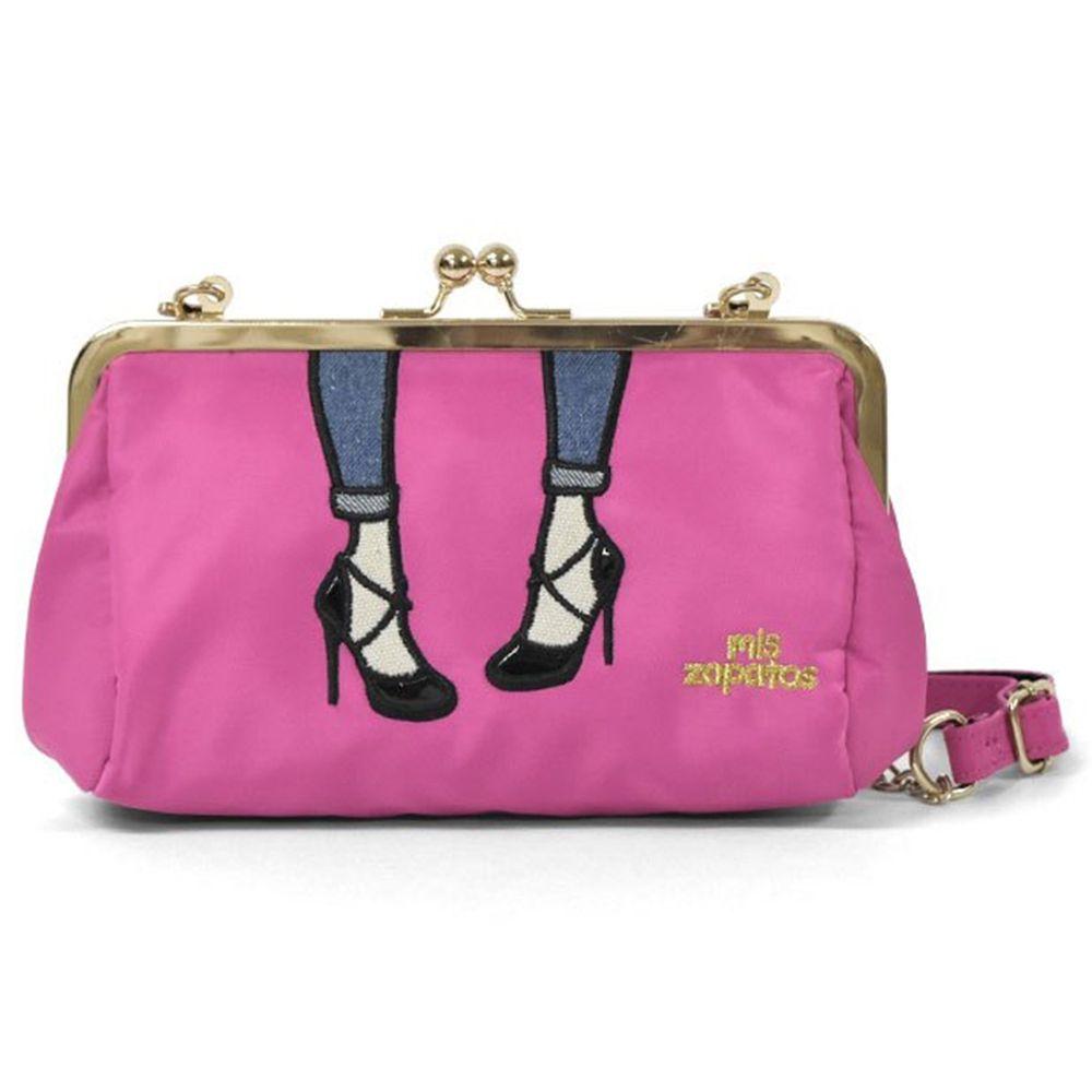 mis zapatos - 兩用口金肩背鏈帶包(尼龍)-霧金高跟鞋-PI粉色 (12*20*10cm)