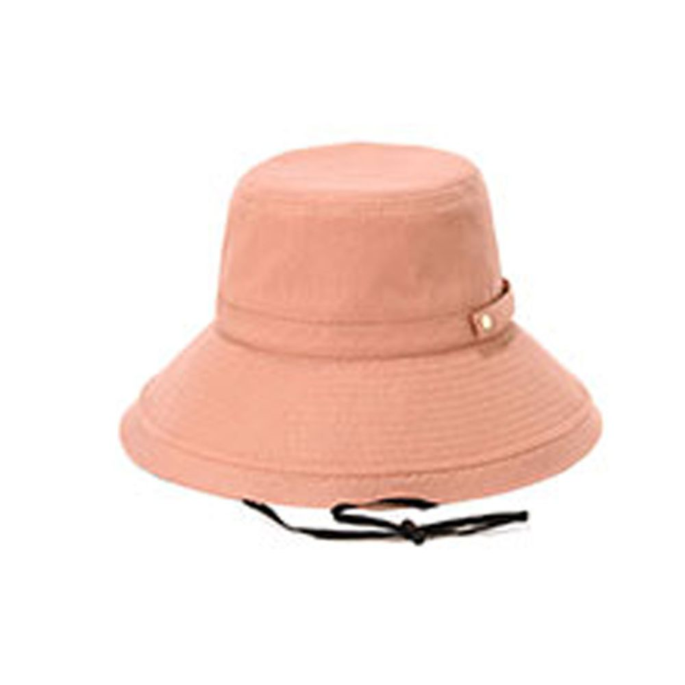 日本 irodori - 【irodori】抗UV可捲收遮陽帽(附防風帽帶)-珊瑚粉-純棉