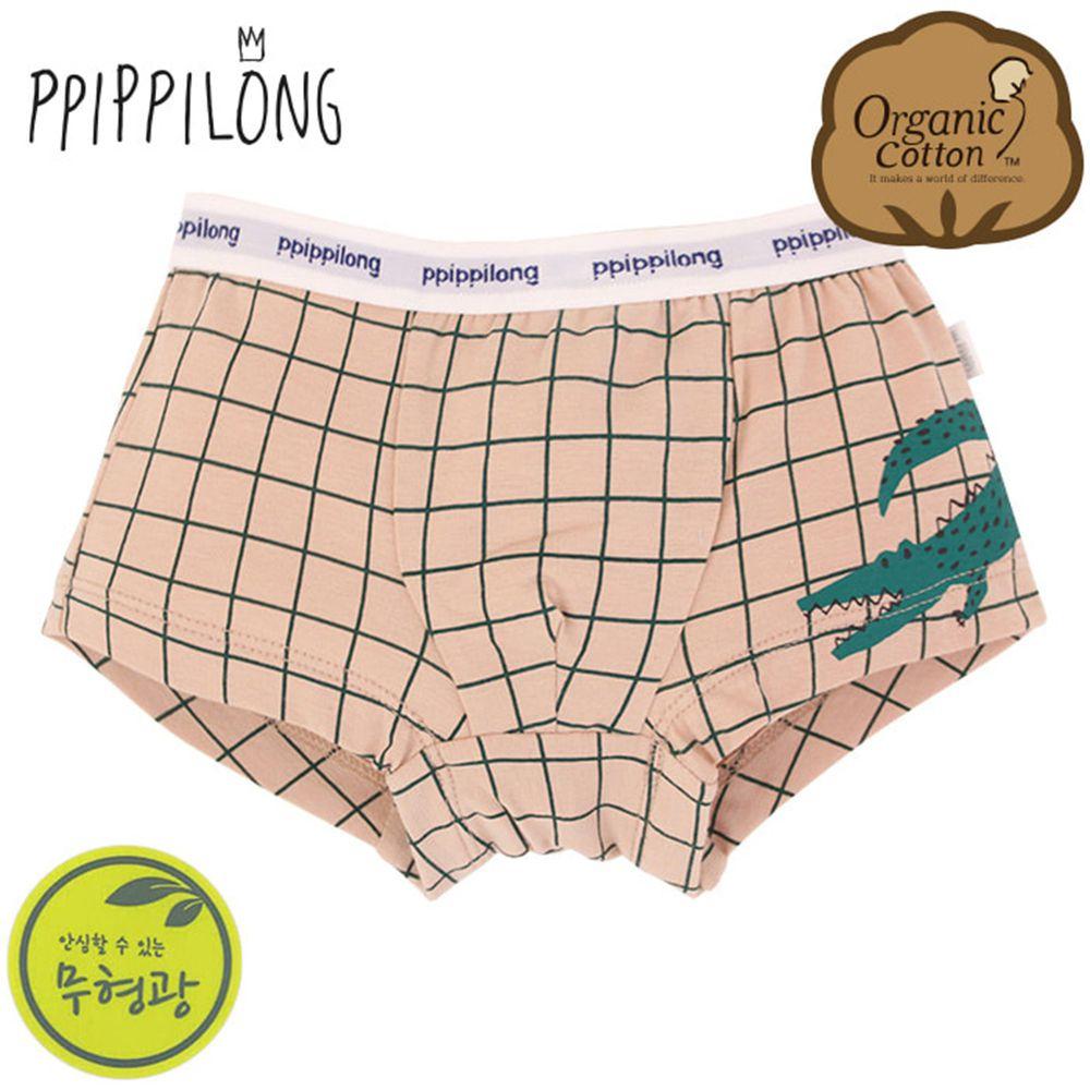 韓國 Ppippilong - 有機棉透氣四角褲(男寶)-綠色鱷魚