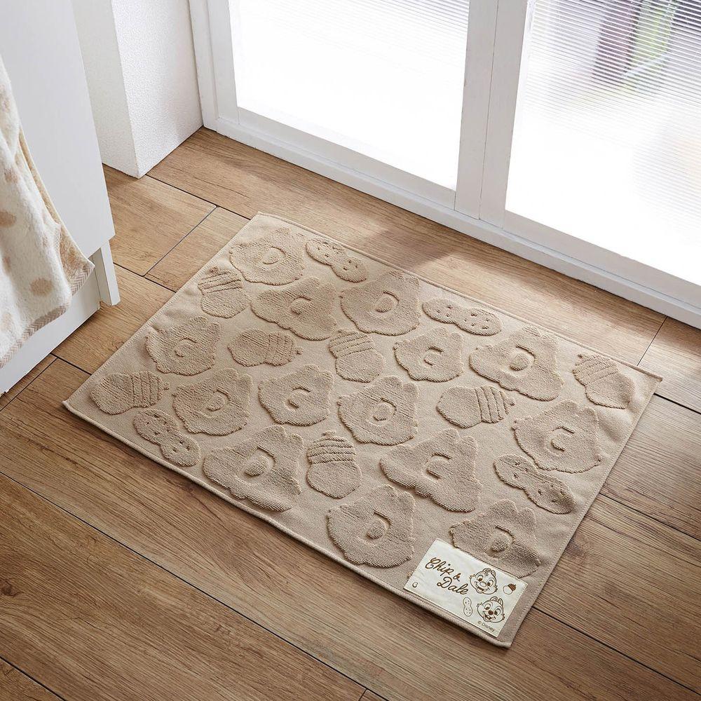 日本千趣會 - 迪士尼 純棉吸水毛巾腳踏墊-奇奇蒂蒂凹凸-灰杏 (45x62cm)