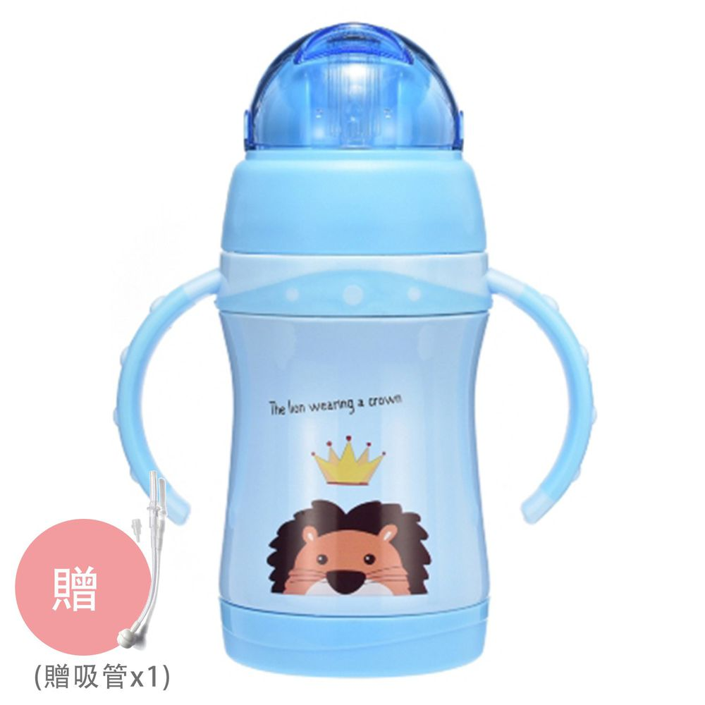 BABY TALK - 可愛動物不鏽鋼2用水杯兒童水壺-獅大王-藍色 260ml-獨家贈替換吸管*1