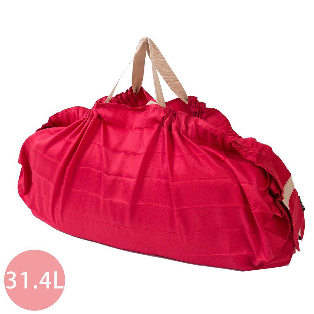 日本 MARNA - Shupatto 秒收摺疊購物袋(可掛購物籃)-熱情紅 (L(50x38cm))-耐重15kg / 31.4L