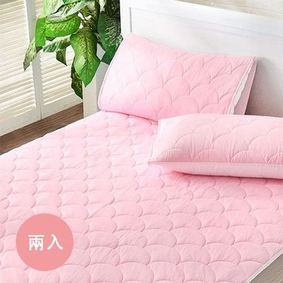 涼感抑菌防水信封式保潔枕套-粉漾素色-粉-兩入